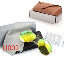 mens wholesale glasses Australia - 10PCS High Quality Glass Lens Sunglasses New Mirror sunglasses pilot mens Sun glasses Brand Designer Womans glasses ray with Original cases