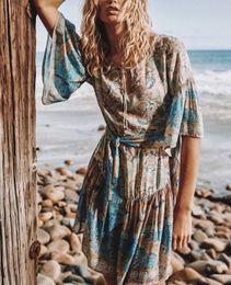 728cb0c43caf1c Cotton Hippie Dresses Australia - Dreamy Oasis Boho summer Dress Women  V-Neck with Tassel