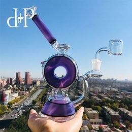 "Water Pipe Art Australia - Plus Glass Bong Dab Rig Water Pipe 010B Lavender ""Smoke Ring Donut"" heady art pipe Showerhead percolator 8.5 Height"