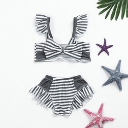 Swimwear Infant Australia - MUQGEW 2019 New Summer Bathing Suit Infant KidS Baby GirlS Swimwear Striped StrapS SwimSuit Bathing Set Beachwear