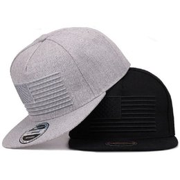 Wholesale flat bill hats online shopping - Raised Flag Embroidery Caps Cool Flat  Bill Baseball Cap 1a466185f45