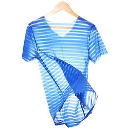 $enCountryForm.capitalKeyWord Australia - Lace Mesh Sexy Top Tees Transparent Shirts Sleep Tops Short Sleeve Gay Male Singlets Undershirts Fashion See through