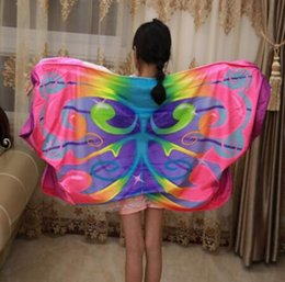 Baby Shawl Wholesale Australia - New Cozy Wings Baby Dream Butterfly Wing cape Kids Shawl Cartoon Multicolor cloak Kids Wing Magic Blanket Novelty Items K095621 60*130cm