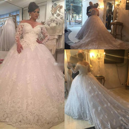 Sparkly pleated bridal ball gownS online shopping - Sparkly Plus Size Ball Gown Wedding Dresses Off the Shoulder Long Sleeve Sequined Appliques Wedding Gowns Court Train Bridal Dress