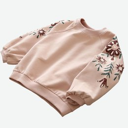 girls yellow sweatshirt Canada - Spring Girls Tops Children's Sweatshirts Casual Kids Costume Long Sleeve T-shirt Floral Print Girls Pullover DQ786 T191014