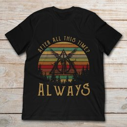 men s vintage t shirts 2019 - 2019 Brand Deathly Hallows Harry After All This Time Always Vintage men t-shirt potter tee discount men s vintage t shir