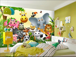 Kids Wallpaper Stickers Australia - custom size 3d photo wallpaper bed room mural cute animal happy jungle kids 3d picture sofa TV backdrop wallpaper non-woven wall sticker