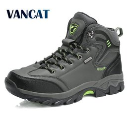 mountain man prints UK - Vancat Brand Men Boots Big Size 39-47 Autumn Winter Mens Leather Fashion Sneakers Lace Up Outdoor Mountain aterproof Men Shoes