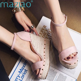 $enCountryForm.capitalKeyWord NZ - Maziao Women Sandals Summer 2018 Platform Sandals High Heels Shoes Ankle Strap Ladies Sandals Rivet Casual Footwear Pink Black Y190706