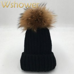 $enCountryForm.capitalKeyWord Australia - [which in shower] Lady Real Raccoon Fur Pom Pom Knit Winter Bobble hat cap Beanie Women Female Rose Red Gray white Black Fur Hat