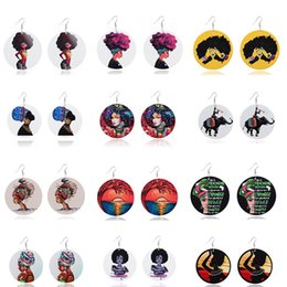 wooden charms pendants wholesale Canada - Hot Sell Round Wooden Earrings Print Colorful African Female Pattern Wood Earrings Charm Pendant Ear Hook For Women Jewelry Statement Gifts