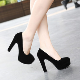 Shoes Circle Australia - Sexy2019 Noodles Down Black Super High Woman Fine Rough Nightclub With Circle Head Single Shoe Will Women's Shoes 3-5-7-10cm