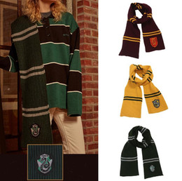 White neckerchief online shopping - Harry Potter Scarves Colors Gryffindor Slytherin Striped Badge Wraps College Neck Scarf Pashmina Winter Neckerchief OOA7095
