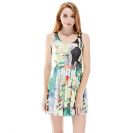 b8a84c4b4086d Women Billowing Dress Figure Painting Western Lady 3D Printed Girl Stretchy  Casual Pleated Parasol Dresses Lady Sleeveless Skirt (RSkd1166)