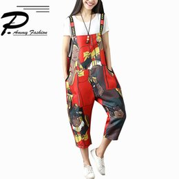 Wholesale Womens New Summer Casual Strap Romper Pants Jumpsuit Trousers Ladies Spring Fashion Cartoon Loose Overalls Trousers Y19071701