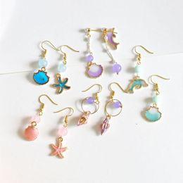 Conch Pearl Charm Australia - Korean enamel dolphins conch shell seashore pearl charms nautical earrings starfish charm pendant stud