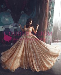 2017 formal dresses 2019 Shining Gold Sequins Evening Dresses Spaghetti Straps Pleats Sweep Train Dubai Arabic Style Formal Occasion Prom Party Dresses Custom