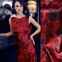 Red Fabrics NZ - 118CM Wide 19MM 93% Silk & 7% Spandex Print Stretch Red Silk Satin Fabric for Dress Cheongsam Shirt Jacket D1014