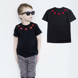 $enCountryForm.capitalKeyWord NZ - Brand Kids T-shirt For Girls Baby Kids Clothing Red Star Pattern Black Tee Shirt Clothing For Girl Summer Children Top Clothes Y190516