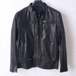 Korean Motorcycle Jacket Australia - 2018 Vintage Black Mens Bomber Motorcycle Jacket Genuine Leather Slim Biker Jacket Sheepskin Korean Plus Size 4XL Leather Coats
