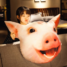 doll toys easter Australia - mulation pig head pillow 3d plush toy animals doll piggy cushion funny toys sofa decoration 65x70cm DY50558