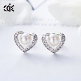 $enCountryForm.capitalKeyWord Australia - Wedding Party silver S925 beaded pearl gift woman lady diamond jewelry Earrings for bride acting initiation graduation CDE-626