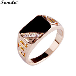 Hollow Fingers Australia - Gold-color Stone Rings Round Ring Men Rhinestone Fashion Out Punk Style Decor Jewelry Hollow Men Enamel Male Finger Rings