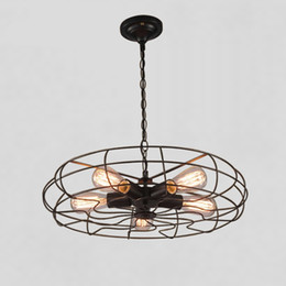 Ancient fAn online shopping - Personality Restore Ancient Ways Fan Iron Pendant Lights Vintage Loft Industrial American Pendant Lamps With E27 Edison Bulbs