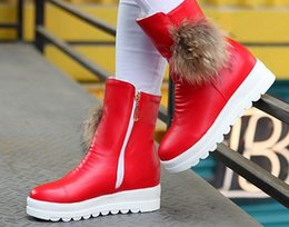 cowgirl charms Australia - New Arrival Hot Sale Specials Super Fashion Influx Cowgirl Winter Female Thick Velvet Ball Warm Leather Casual Wedge Ankle Boots EU34-43
