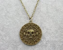 $enCountryForm.capitalKeyWord NZ - Caribbean Pirate Necklace Pendant Auniquestyle Fashion Jewelry Jack Sparrow Aztec Coin Medallion Necklace Vintage Gold Bronze Silver Gift
