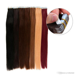 tape human hair extensions 22 inch NZ - Dark Brown #2 Tape In Human Hair Extension Double Drawn Skin Weft Brazilian Straight Hair 40 pcs set 100% Human Hair 22 24 inch