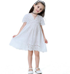 cotton embroidered lace NZ - Cotton Lace Girl Dress Kids Summer New Embroidered Children Clothes White Lace Princess Korean Cute Thin Dress GB272
