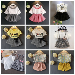 Flowers patchwork online shopping - 9Styles Kids Outfits INS Baby Girls Clothes Sets Children Summer Cotton Chiffon T shirt Skirts Short Pants Floral Letter Print Suit GGA2345