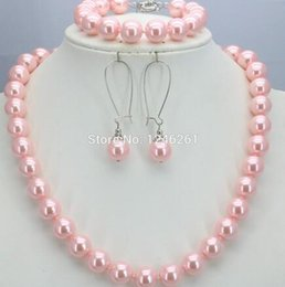 $enCountryForm.capitalKeyWord Australia - women Fashion Jewelry Special Offer Christmas Gifts Girls 10mm Pink Glass Pearl Beads Necklace Bracelet Earrings Sets Jewelry Ma
