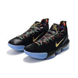 6568088ffaa Mens lebron 16 basketball shoes Throne Black Gold Blue SuperBron Red White  new youth kids lebrons sneakers tennis with box size 7 12