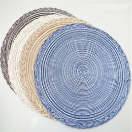 Wholesale 10pcs PP round table mat western table mat heat insulation pad environmental woven table mat for home use in hotel