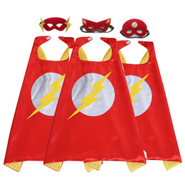 Discount flash superhero cartoon - Double Side 27inch Flash Cartoon Superhero Toys & Costumes Superhero Cape Mask Set For Birthday Party Kids Favors Suppli