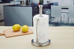 Paper Roll Holders Australia - Perfect 304 Stainless Steel Tear Tissue Holder Countertop vertical large roll paper towel rack Kitchen accessories in stock