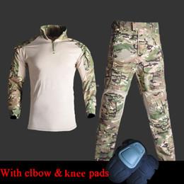$enCountryForm.capitalKeyWord Australia - Multicam Tactical Uniform Army Combat Clothes Hunting Assault Suit with Knee Elbow Pads Tactics Shirt + Pants