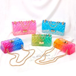 $enCountryForm.capitalKeyWord Australia - Clear Colorful Transparent jelly Bag Gradient Candy Color Crossbody Bags Designed Ladies Shoulder Chain Messenger Bag