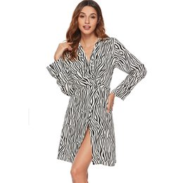 Wholesale new look fashion dress resale online - Sexy Dresses for Women Zebra Print Split New Look Elegant Lady Fashion High Waist Party Evening Dinner Women Dress Plus Size