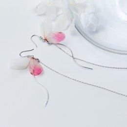 $enCountryForm.capitalKeyWord Australia - 925 Sterling Silver Sweet Pink Butterfly Drop Dangle Earrings for Women Fashion Cute Long Tassel Ear Chain Line Femme Jewellery