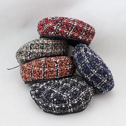 Cotton Berets For Women Australia - 2018 winter Warm cotton Plaid printing adjustable beret hats for women and girl Painter hat Beanie cap 01