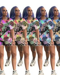 $enCountryForm.capitalKeyWord Australia - Tiger Head Print Women Tracksuit Tie Dye T-shirt Tops + Shorts 2 Piece Set Short Sleeve T Shirt Outfits Summer Pocket Sports Suit Clothes