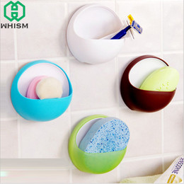 $enCountryForm.capitalKeyWord Australia - wholesale Plastic Storage Holders Rack Wall Shelf Sponge Holder Suction Cup Soap Holder Wall Mounted Kitchen Rack Bathroom