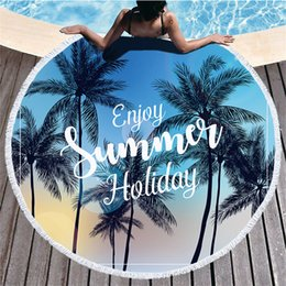 Wholesale Tropical Printed Bath Towel Beach Towel Tassel Round Microfibre Compressed Travel Bathroom Towels Bath Towels for Adults Shower