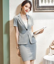 051d2e0fd716 Summer Formal Grey Striped Blazer Women Business Suits with Skirt and Jacket  Sets Ladies Work Wear Office Uniform Styles