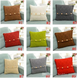 knit pillow patterns NZ - Pillow Cover Button Knitted Twist Patter Decorative Cable Knitting Patterns Cushion Cover Square Warm Pillow Case 45X45CM Christmas Gifts