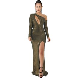metallic gold spandex UK - Metallic Evening Dress Chest harness Cutout Sexy Cocktail Dress One Shoulder Long Sleeve Fashion Dress with Slits