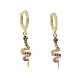 $enCountryForm.capitalKeyWord Australia - Women's fashion features earrings snake pattern multi-colored small zircon embellished personality earrings E4M325